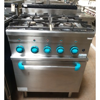Occasion MBM 4-pits gas fornuis met gas oven