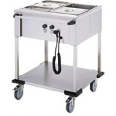 Mobile Containing bain-marie wagen, 2 x 1/1 GN - bediening lange zijde