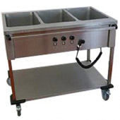 Mobile Containing bain-marie wagen, 4 x 1/1 GN - bediening lange zijde
